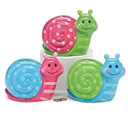 Set of 3 Whimsical Snail Piggy Banks Adorable Nursery and Child Room Decor
