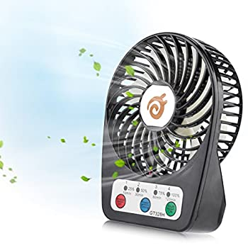 D-FantiX 3-inch Mini Portable Fan 4 Speeds Rechargeable USB Desktop Fan Personal Fan Small Handheld Fan Battery Operated / USB Powered for Travel, Home and Office (Black)