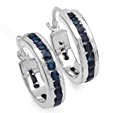 1.80 Carat Genuine Blue Sapphire Silver Earrings