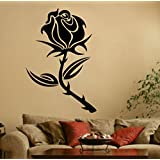 Decal Style Style Rose Flower Sticker Small Size-19*29 Inch Color - Black