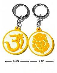 Keychain Om Ganesh Ganpati Yellow White Synthetic Rubber Metal Keyring