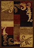 Home Dynamix Catalina HD1258-539 Polypropylene 7-Feet 10-Inch by 10-Feet 5-Inch Area Rug, Brown/Red