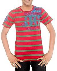 Menthol Boys Yarn Dyed Stirpe Round Neck Tshirt (9-10 Years, Red Bottlegreen)