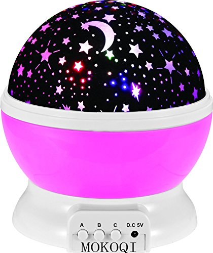 Sky Star Light Notte, MKQPOWER® stella della nuova generazione di illuminazione della lampada 360 gradi Camera Romantica Rotazione del proiettore di notte della lampada bambini Bedroom Letto regalo di Natale (rosa)