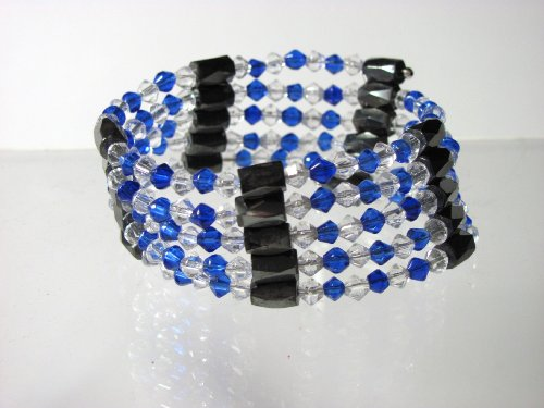 Magnetic Hematite Blue Beads Bracelet Necklace