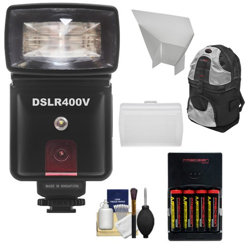 Precision Design Dslr400V High Power Auto Flash With Led Video Light + Batteries & Charger + Diffuser + Bounce Reflector + Backpack Kit For Canon Eos 6D, 7D, 70D, 5D Mark Ii Iii, Rebel T3, T3I, T5, T5I, Sl1 Cameras