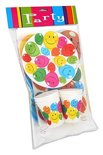 LolliZ Party Pack Ware for 6. Joyous Balloons, Colorful Smiley Faces Prints over White