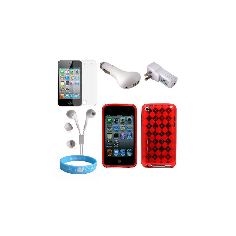 Ipod Touch 4th Generation Combo Red TPU Silicone Skin