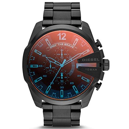 Diesel DZ4318 Mega Chief - Reloj de pulsera analógico para hombre de acero inoxidable, con fecha, sumergible a 100 m, negro