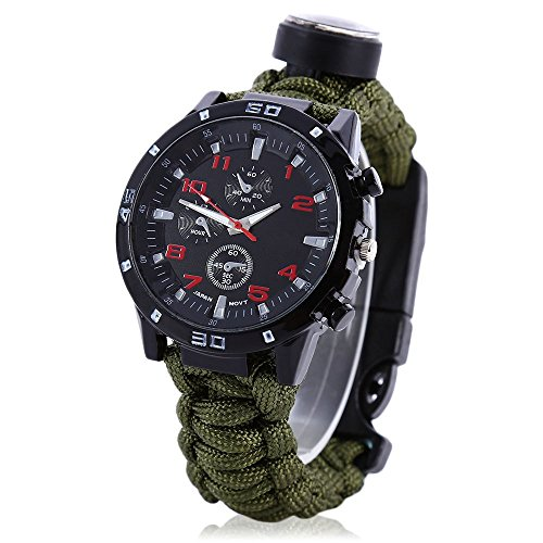 Men Women Emergency Survival Watch with Paracord,Compass,Whistle,Fire Starter, Analog Watches, Survival Gear,Water Resistant ,Adjustable (Army Green) (Army Seal compare prices)