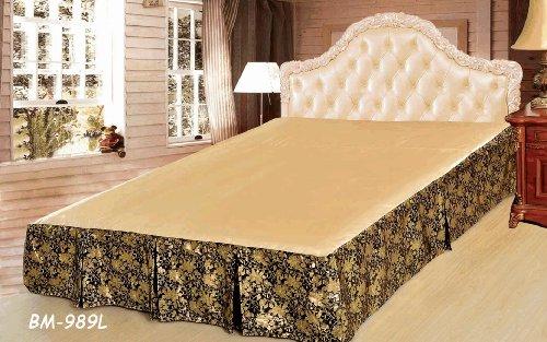 Tache Elegant Floral Golden Roses Ruffled Bed Skirt-King front-814751
