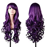 Emax Design Wigs 32 Inch Cosplay Wig For Women With Wig Cap And Comb(Dark Purple)