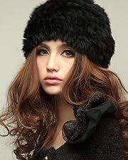 ドゥマン「demain」柔らか 暖かい ふわふわ ラビット ファー 防寒 帽子 SK01 ブラック