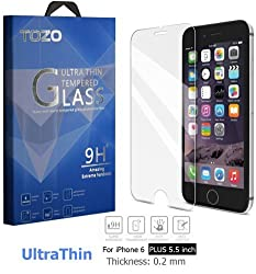 iPhone 6S Plus Screen Protector Glass, TOZO [0.15mm] Ultrathin [Corning Gorilla] Premium Tempered Glass [3D Touch Compatible] 9H Hardness 2.5D Edge [Super Clear] Screen [Lifetime Warranty] 0.15mm