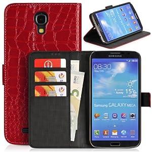 DONZO Wallet Kroko Tasche für Samsung Galaxy Mega 6.3 I9200 I9205 Rot