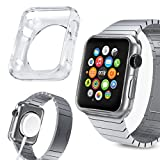 Orzly® - FlexiCase FacePlate for APPLE WATCH (42mm) - Protective Flexible Silicon Gel Case in 100% TRANSPARENT - Retail Packed & Designed by Orzly® specifically for use with the APPLE WATCH (For 42mm Version of All 2015 Models - BASIC / SPORT / EDITION)