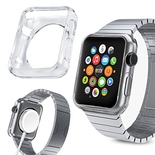 Orzly® - FlexiCase FacePlate for APPLE WATCH (38mm) - Protective Flexible Silicon Gel Case in 100% TRANSPARENT - Retail Packed & Designed by Orzly® specifically for use with the APPLE WATCH (For 38mm Version of All 2015 Models - BASIC / SPORT / EDITION)