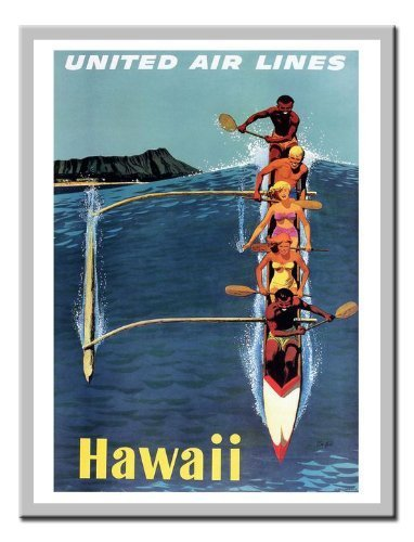hawaii-by-united-airlines-travel-stampa-lavagnetta-magnetica-argento-con-cornice-41-x-31-cms-circa-4