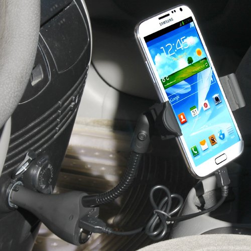iKross Universal Cigarette Car Mount Holder with 2 USB Port and Extra Socket for HTC One Sprint Smartphone ** include Micro-USB Data Cable