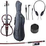 Cecilio 4/4 CECO-1DW Mahogany Metallic Electric Cello with Ebony Fittings in Style 1 (Full Size)