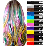Washable Hair Chalk Pens Set - 12 Including Natural Colors Kit All Hair Temporary Hair Dye Pen Instant Highlights Colorful Hair Chalks Markers Non-Toxic No Mess Adult, Kids or Girls Face Paint Party