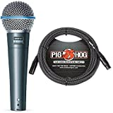 Shure Beta 58A Supercardioid Vocal Microphone & Pig Hog Black & White Woven Mic Cable, 20ft XLR - Bundle