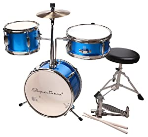 Spectrum AIL 3-Piece Junior Drum Set with 8-Inch Crash Cymbal and Drum Throne from SPEHY
