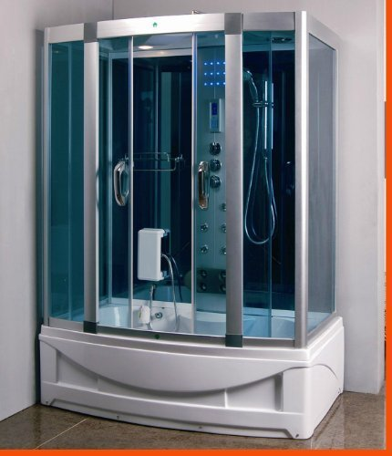 Steam Shower Room With Jacuzzi Whirlpool Tub (Color: White)