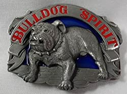 Bull Dog Spirit Enamel Pewter Belt Buckle