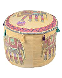 Designer Ottoman Yellow Cotton Elephant Patch Work Pouf Cover By Rajrang