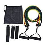 Set 11 pcs Fitness Exercise Latex Tube Resistance Bands--Perfect for Fitness, Boxing, Martial Arts, Running,Jumping and Many Other Training Programs