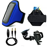 Neoprene Running Exercise Armband For Acer Liquid E1, E2 Smartphone + Auxiliary Cable + Windshield Car Mount