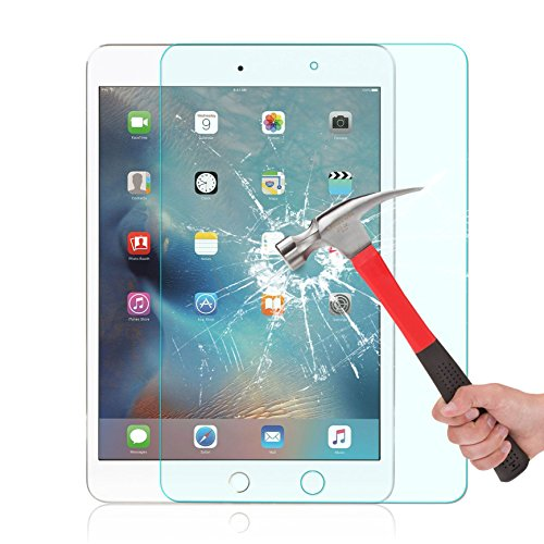 iPad mini 4 Screen Protector, OMOTON® Tempered-Glass Screen Protector with [9H Hardness] [Premium Crystal Clear] [Scratch-Resistant] [No-Bubble Installation] for iPad mini 4, Lifetime Warranty