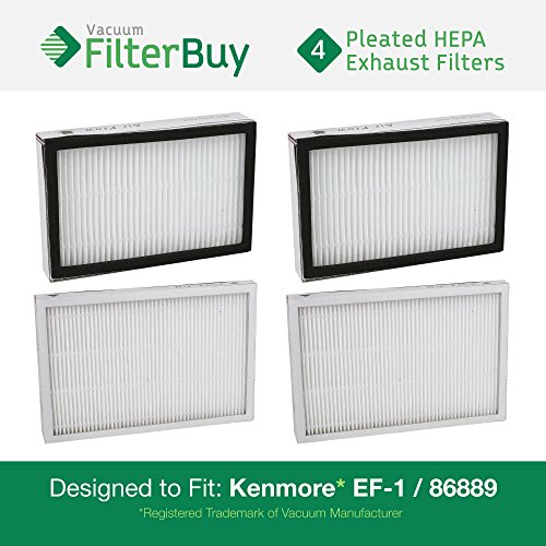 4 - Kenmore EF-1 86889 Exhaust Vacuum HEPA Filters. Designed by FilterBuy to replace Sears Kenmore Part # 20-86889 (86889), 40324, EF1. Also replaces Panasonic MC-V199H. (1 4 Hepa Filter compare prices)