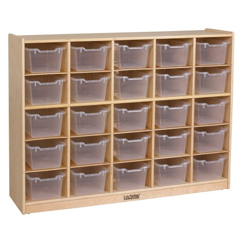 Ecr4Kids Birch 25 Cubby Tray Cabinet With Scoop Front Clear Color Bins front-290009