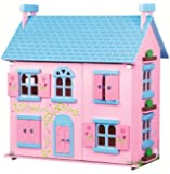 LELIN WOODEN SWEETIE PINK DOLL HOUSE PLAYHOUSE GIRLS CHILDREN PLAYHOME 3 STOREY