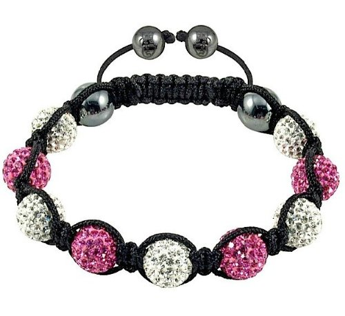 SHAMBALLA STYLE CRYSTAL DISCO BALL FRIENDSHIP BEAD BRACELETS[Pink & white with black string]