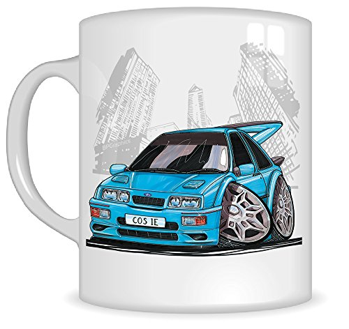 Koolart Gifts K184-MG Cartoon of FORD SIERRA COSWORTH RS500 - Caricature TURQUOISE FORD Mug Gift for Men ( Mugs)