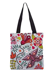 Snoogg Seamless Pattern With Butterflies And Flowers Designer Poly Canvas Tote Bag