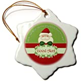 3dRose Orn_38740_1 Santa I Have Been A Very Good Aunt This Year In Red And Green-Snowflake Ornament, Porcelain...
