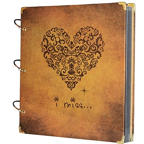 SiCoHome Scrapbook Vintage Photo Album Anniversary Scrapbook DIY Photo Albums Vintage Style Recording Our Story Valentines Day Gifts Christmas Gifts 27X26 Cm Heart Printed Surface