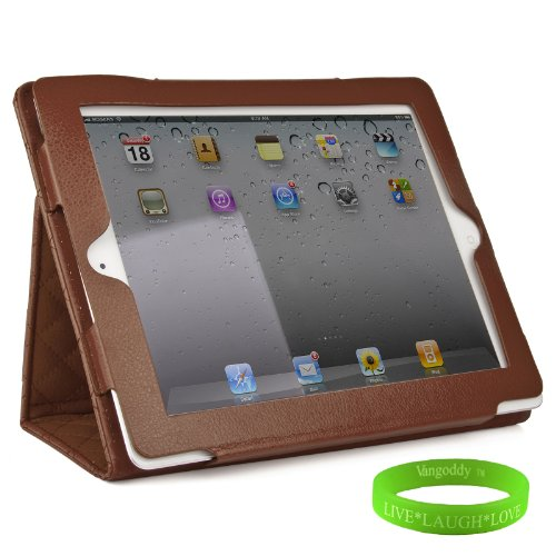 Brown Padded iPad Skin Cover Case Stand with Screen Flap and Sleep Function for all Models of The New Apple iPad ( 3rd Generation, wifi , + AT&T 4G , 16 GB , 32GB , 64 GB, MC707LL/A , MD328LL/A , MC705LL/A , MC706LL/A , MD329LL/A , MD368LL/A , MC756LL/A , MC744LL/A ect.. ) + Live * Laugh * Love Vangoddy Trademarked Wrist Band!!!