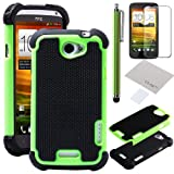 51Ma4Yk3NZL. SL160  Pandamimi ULAK(TM) Green &amp; Black Combo Hard Case Cover Soft Gel Skin for HTC One X S720e with Screen Protector and Stylus