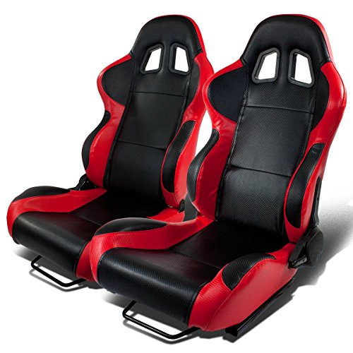 pair-of-full-reclinable-black-and-red-carbon-look-pvc-leather-type-4-racing-seat-adjustable-sliders