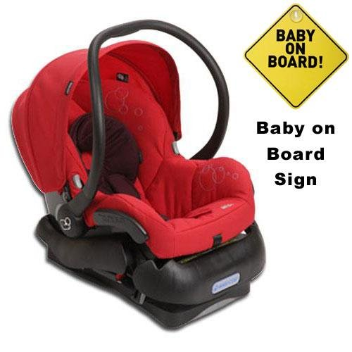 Maxi-Cosi Mico IC099INT Infant Car Seat w Baby on Board Sign - Intense Red