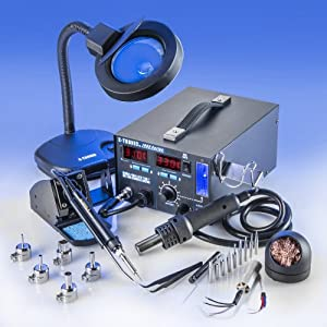 "4 IN 1 ""X-TRONIC"" MODEL #7040-XTS HOT AIR REWORK SOLDERING IRON STATION, FUME EXTRACTOR, VACUUM PICKUP TOOL - 5 Hot Air Nozzles - 10 Ass. Solder Tips - 1 Each Hot Air & Iron Heating Element - Brass Sponge Cleaner - Tweezers - 1 5X MAGNIFYING LAMP"