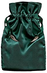 Tarot Rune Gift Bag with Angel Wing Charms, Forest Green Satin 5 X 8