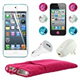 Skque 5 Inch Pink Soft Sleeve Cloth Pouch Velvet Case + Clear Screen Protector Guard + USB 1000mAh Home/Travel Wall Charger + Rapid Car Charger + 6 Pcs Bling Diamond Crystal Style Home Button Sticker for Apple iPod Touch 5th Generation