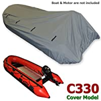 Seamax Dinghy Tender Raft Cover Model: C330, For Inflatable Boat Beam:5.3-5.7ft Length:9.3-10.8ft Gray Color, With Elastic String & Tie Down Rings Fit Achilles Mercury Zodiac by SEAMAX MARINE