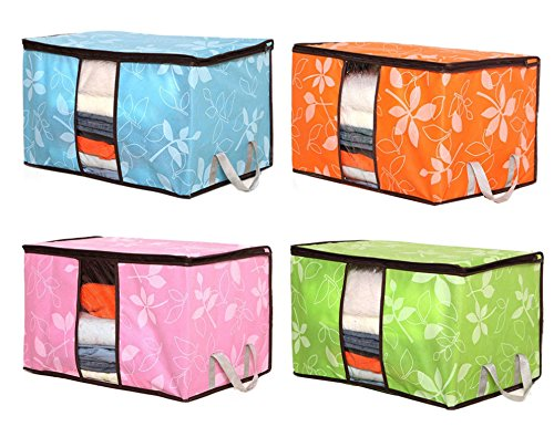 San Tokra 4Pcs Foldable Home Quilt Pillow Blanket Clothing Storage Bag Flower Printed Container Box (Quilt Storage Bag compare prices)